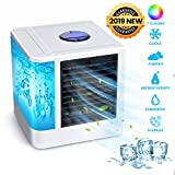 OUTERDO Luftkühler, 3 in 1 tragbarer Mini-Klimaanlagenlüfter, Desktop-Raumkühler Luftbefeuchter & Luftreiniger mit 3 Geschwindigkeiten Nachtlicht für zu Hause Büro