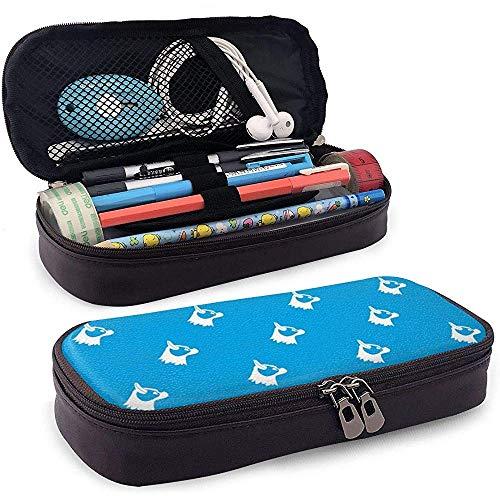 Pug Dog Blue Leather Pencil Case Pouch Cute Pen Pencil Case Box