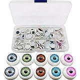 TIHOOD 100pcs/box 12mm Doll Eyeballs Half Round Acrylic Eyes for DIY Doll Bear Crafts Halloween
