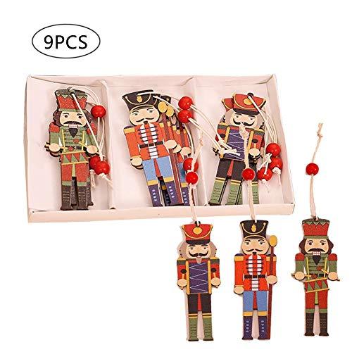 N/C 9PCS Set di Ornamenti Natalizi per Schiaccianoci, Ciondolo in Legno per Albero di Natale, Accessori per Decorazioni per Alberi di Natale Colorati per Schiaccianoci
