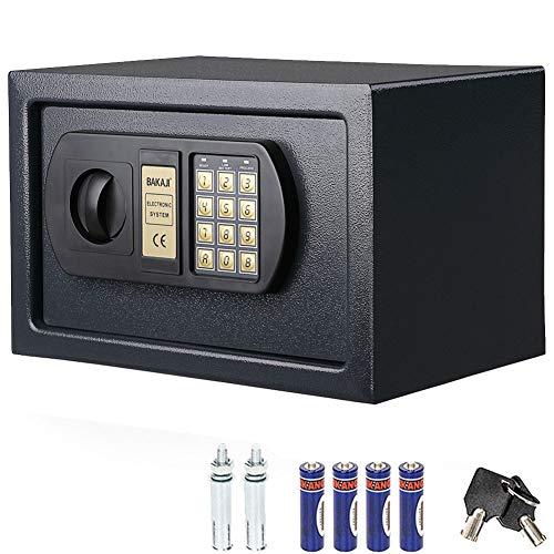 Bakaji Cassaforte a Muro Numerica Digitale 31 x 20 x 20 cm Cassetta di Sicurezza Elettronica Casa Albergo Hotel Safe + 4 x AA Batterie e Chiavi di Emergenza Colore Grigio Scuro