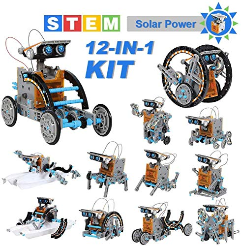 OFUN STEM Toys Solar Robot Kit 12 in 1, Educational Building Toys Science Experiments Kits for 10-12 Year Old Boys, DIY Assembled Crafts Gift/ Birthday/ New Year Gifts