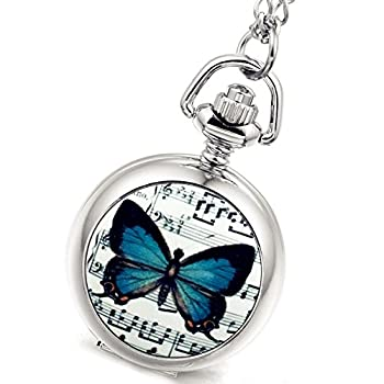 Women s Girl s Pocket Watch Beautiful Butterfly Silver Quartz Sweater Necklace with Chain Valentines Day Gift