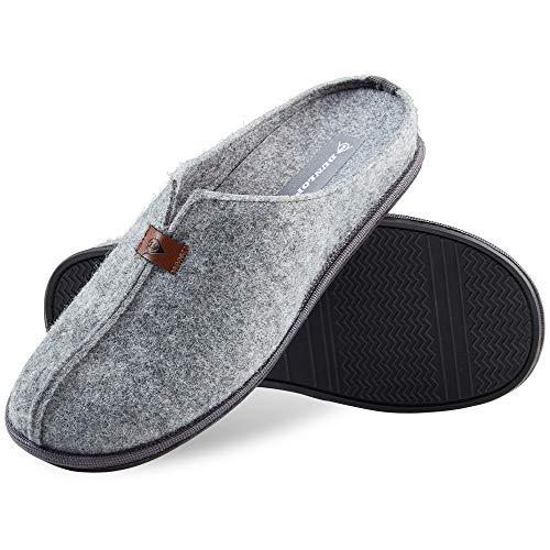 Dunlop Hausschuhe Herren, Filzpantoffeln für Herren und Jungen, Winter Pantoffeln Herren mit Gummisohle, Geschenke für Männer (46, Grau, numeric_46)
