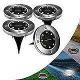 Solar Bodenleuchten Garten 8 LED Solarleuchten Solarlampe Unterirdische Licht IP65 Wasserdichtes Gartenleuchte für Draussen Garten SolarLicht Draussen Landschaft Beleuchtung von Lacyie (white Licht)
