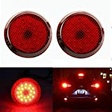 Xotic Tech 2x Round Add On LED Red Lens Bumper Warning Taillight 21-SMD Reflector Brake Light Lamps For Scion iQ xB Sienna Corolla