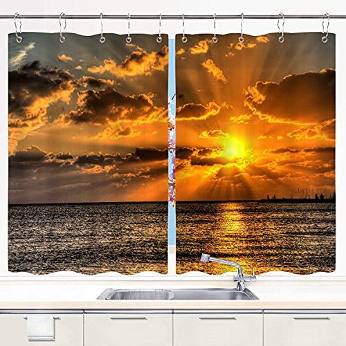 BOKEKANG kitchen curtains,Key West Florida Sunset Ocean Atlantic Gulf Of Mexico Conch Republic Key Largo,Cafe Curtain Kitchen Window Treatment Sets Home Decor with Hooks,55'Wx39'L,2 Panels