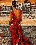 FGHJSF Pintar por numerosChica de Falda roja Pintura al óleo de DIY por Números con Pinceles y Pinturas para Adultos Niños Principiantes Lienzo Pintura al óleo - 40 X 50 cm (Sin Marco)