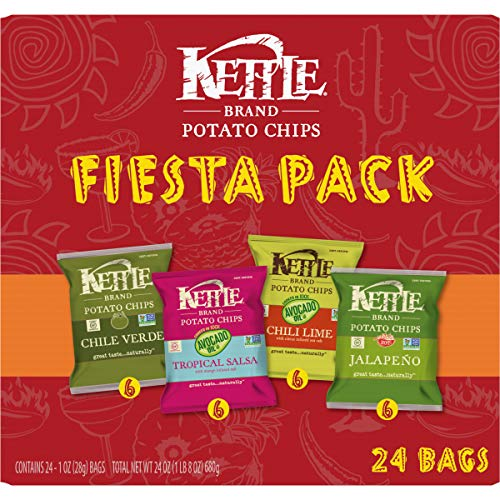 Kettle Brand Potato Chips Fiesta Variety Pack of Chile Verde, Tropical Salsa, Chili Lime and Jalapeno, 24 Count