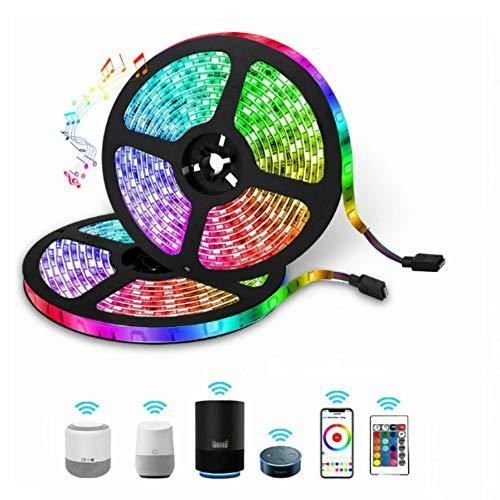Beloksny tira LED 32.8 pies trabajo con Alexa Google Home, luces LED RGB WiFi inalámbrico Smartphone para control de habitación,...