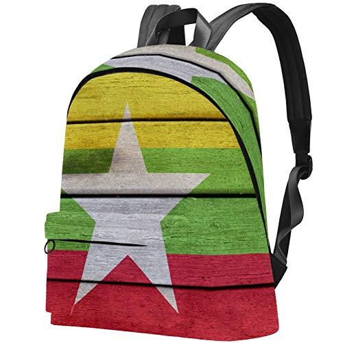 Myanmar Flag Holzoberfläche Bag Teens Student Bookbag Leichte Umhängetaschen Reiserucksack Tägliche Rucksäcke