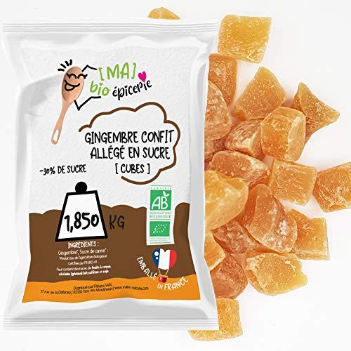 [MA] bio-épicerie | Gingembre confit allégé en sucre BIO en cube | 1,850 KG | Sachet vrac | Certifié biologique | Fruit confit de qualité supérieure | Sans conservateur