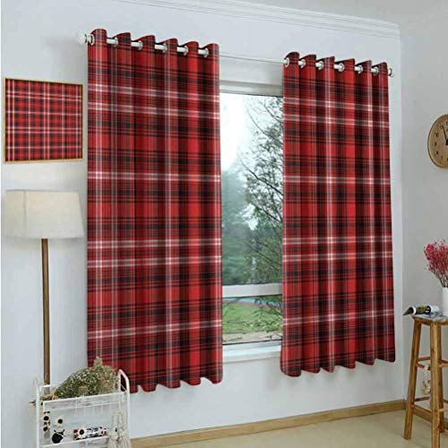 Gardome Blackout Curtains Plaid,Nostalgic Striped Pattern from British Country with Constrasting Colors,Scarlet Black White,Insulating Room Darkening Blackout Curtains for Bedroom 52'x72'