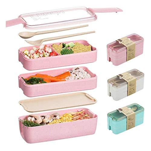Premium Lunchbox,3-Stockwerke Besteck,Japanische Luftdichte Bento Box,Brotdose mit Fächern,Zero Waste,Mikrowellen- & Geschirrspülerfest,BPA-frei
