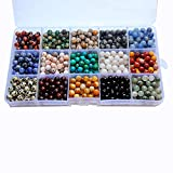 wood badge beads - 800pcs 6mm Natural Round Stone Beads Genuine Real Gemstone Beading Loose Gemstone Hole Size 1mm DIY Smooth Beads for Bracelet Necklace Earrings Jewelry Making,Box Packed. (15 Material, 6mm)