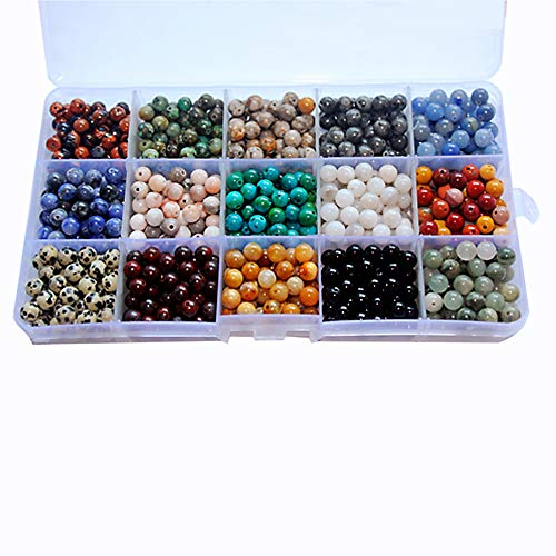 800pcs 6mm Natural Round Stone Beads Genuine Real Gemstone Beading Loose Gemstone Hole Size 1mm DIY Smooth Beads for Bracelet Necklace Earrings Jewelry Making,Box Packed. (15 Material, 6mm)
