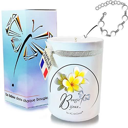 AG Artgosse Bougie Bijoux 170ml • Bougie Parfumée Monoï de Tahiti + Bracelet Cristal Swarovski éléments Femme • Coffret Cadeau Artisanal • Ambiance de fête d'anniversaire • Suédine + Pochette