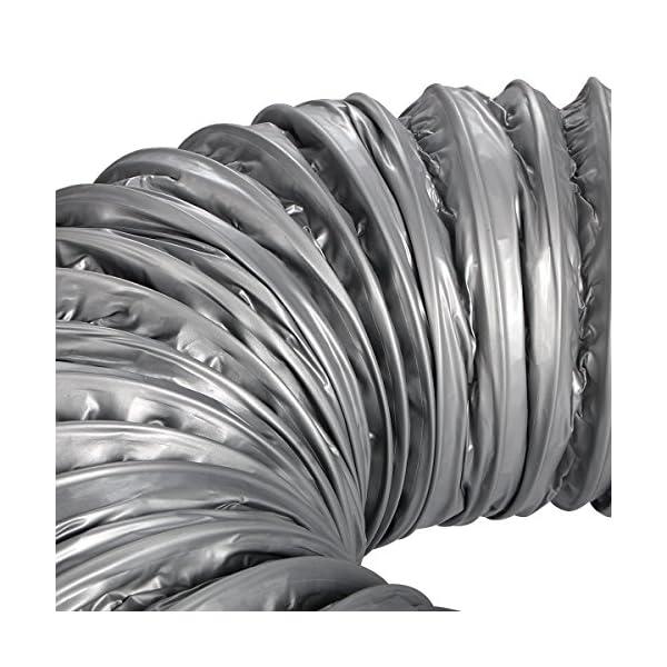 Hon/&Guan Condotti Tubo di Ventilazione Flessibile in Alluminio PVC per Aerazione Domestica /ø200mm*10m, Grigio Hydroponics