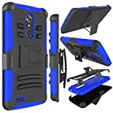 Zenic Compatible with ZTE MAX XL Case, ZTE N9560 Case, Zenic Heavy Duty Shockproof Full-Body Protective Hybrid Case Cover with Swivel Belt Clip and Kickstand Compatible with ZTE Max XL/N9560 (Blue)