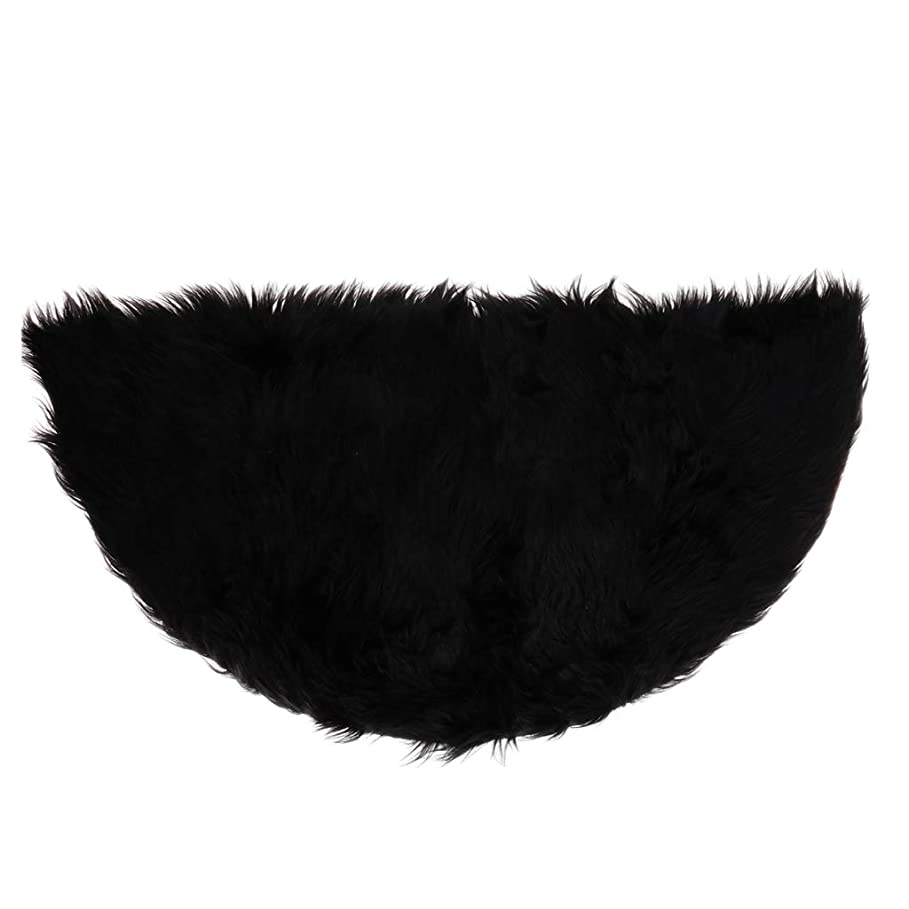 狂乱影響を受けやすいです季節FLAMEER フロアマット カーペット ラグ 人工ウール 半円 無地 約45×90cm 多色 - ブラック