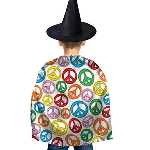 Amoyuan Unisex Kids Kerstmis Halloween Heks Mantel Met Hoed Regenboog Kleur Vrede Tekenen Wizard Cape Fancy Jurk