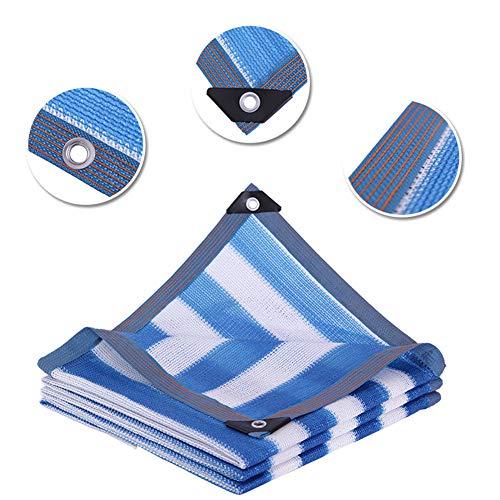 HLMBQ Sombrilla de tela de malla para el sol, tela cortavientos con borde sellado con ojales para plantas de jardín, pérgola y toldo azul y blanco a rayas 6 x 10 pies, HDPE, 3*10m/10*33ft