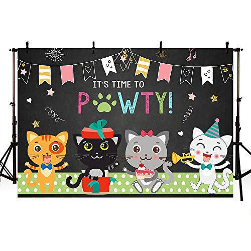 MEHOFOTO Cute Cat Birthday Party Photo Booth Backdrop Props It's Time for A Pawty Cats Pet Puppy Music Black Birthday Photography Background Banner for Cake Table Supplies 7x5ft