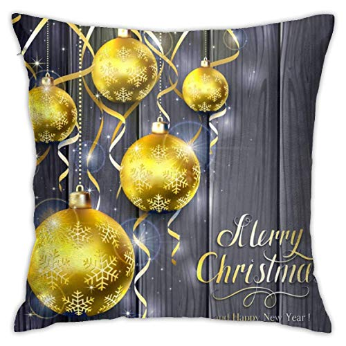 wteqofy Throw Pillow Covers Modern Decorative Throw Pillow Case Red Background with Christmas Balls and Tinsel Pillow Covers Cushion Case for Room Bedroom Room Sofa Chair Car,18 X 18 Inch