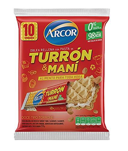 Wafer dall'Argentina Ripieni di Torrone e Pasta di Arachidi, Pack 250 g con 10 unità - Oblea Rellena de Turron & Maní ARCOR, 250g