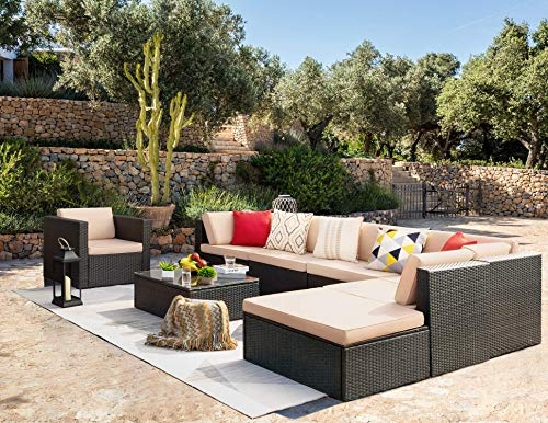 KaiMeng 8 Piece Patio Sofas Furniture Outdoor Lawn Garden Rattan Sets, Black Brown Wicker Conversation Sets Sectional Sofa with Seat Cushions and Single Sofa