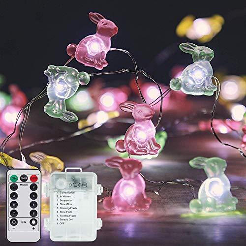 æ— Guirnalda de luces de conejo de Pascua de 3 m, 30 ledes, funciona con pilas, alambre de cobre con 8 modos, temporizador, mando a distancia para dormitorio, decoración de fiesta de Pascua