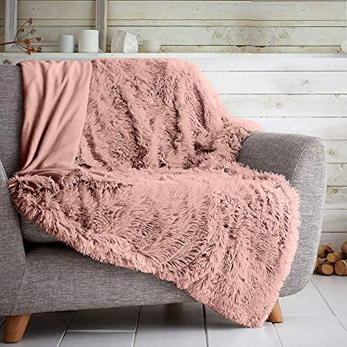 GAVENO CAVAILIA Teddy Throws Sofa Bed Cosy Bedspread, Fleece Rug Settee Blankets, Hug and Snug, Pink, Double (150x200 Cm)