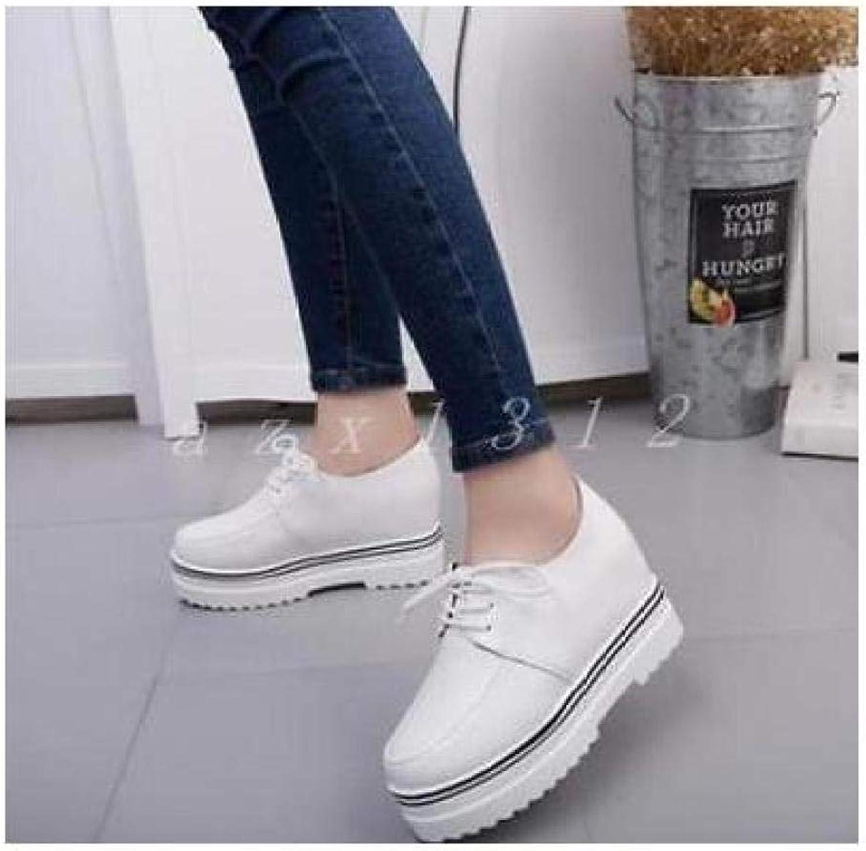 FidgetFidget Ladies Womens England Platform Heel lacup anklboot Sneakers shoes Round to