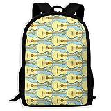 ADGBag Sketch Guitar Musical Instrument Blue Fashion Outdoor Shoulders Bag Durable Travel Camping for Kids Backpacks Shoulder Bag Book Scholl Travel Backpack Sac à Dos pour Enfants
