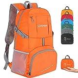ZOMAKE Sac à Dos Compact 35L, Sac à Dos Pliable Léger, Sac de Randonnée pour Homme Femme Sports et Plein air (Orange)