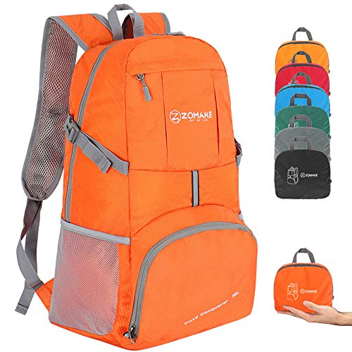 ZOMAKE Lightweight Foldable Backpack 35L, Water Resistant Rucksack, Unisex Nylon Daypack for Travel Hiking Cycling Outdoor Sport (Orange)