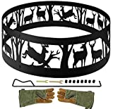 INNO STAGE 36' Fire Ring for Outdoor Camping Living Wilderness, Heavy Duty Bonfire Liner for Campfire Wood Burning with Extra Poker, Portable Carrying Bag and Leather Green Gloves