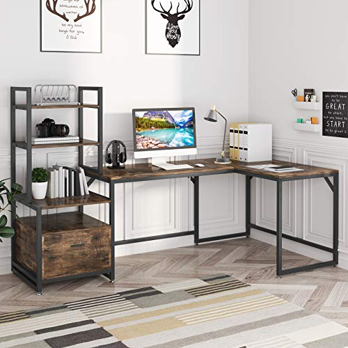 Tribesigns L-Shaped Computer Desk with 3 Tiers Storage Bookshelves and File Cabinet, L Shaped Desk with Drawers Corner Desk Bookcase Organizer, Home Office Desk Table Sturdy Workstation (Rustic Brown)