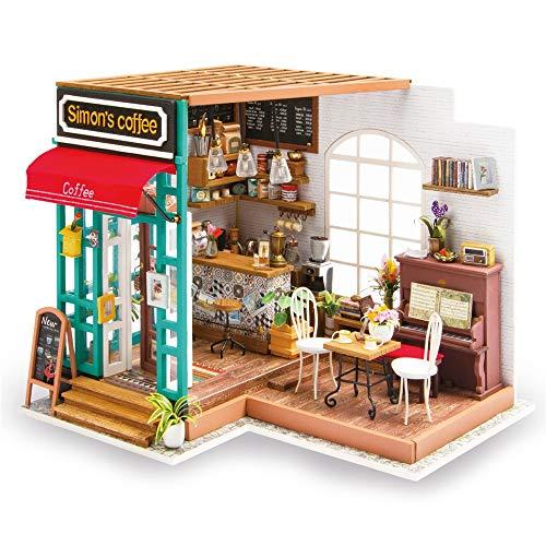 Casa de Juguete en Miniatura Simple DIY de Madera Dollhouse Coffee Bar Shop Cafe Modelo Handcraft Miniatura Kit Juguete de construcción Modelo (Color : Multi-Colored, Size : 226 * 194 * 190mm)