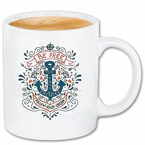 Reifen-Markt Kaffeetasse BE Free SEEMANN Tattoo MIT Anker KAPITÄN MATROSE SEEFAHRER Keramik 330 ml in Weiß