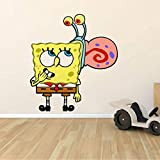 Spongebob Squarepants Gary The Snail Wall Graphic Decal Sticker Sticker Mural Baby Kids Room Bedroom Nursery Kindergarten House Home Design Wall Art Decor Removable Peel and Stick Mural 20x12 inch