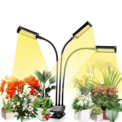 Led Pflanzenlampe Vollspektrum, Vogek Grow Lampe für Zimmerpflanzen, Pflanzenlicht mit Timing Funktion, 3 Arten von Modus, 10 Helligkeitsstufen-Schwarz