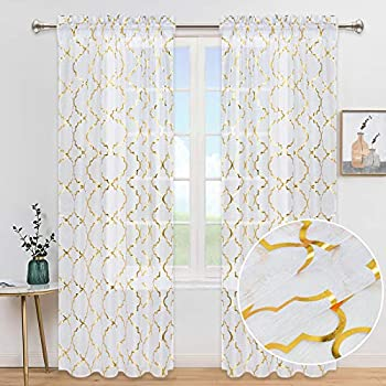 White Gold Moroccan Curtains Semi-Sheer Voile Window Curtain Panels Trellis Foil Print Curtain Drapes Rod Pocket Curtain for Bedroom Living Room Decor Set of 2 Panels 52 x 84 Inch Length