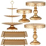 XINLIYA Set of 6 Pieces Metal Cake Stands Round Cake Stands Square Candy Fruite Display Plate Cupcake Serving Tower Wedding Brithday Party Celebration Home Decoration,Antique Gold