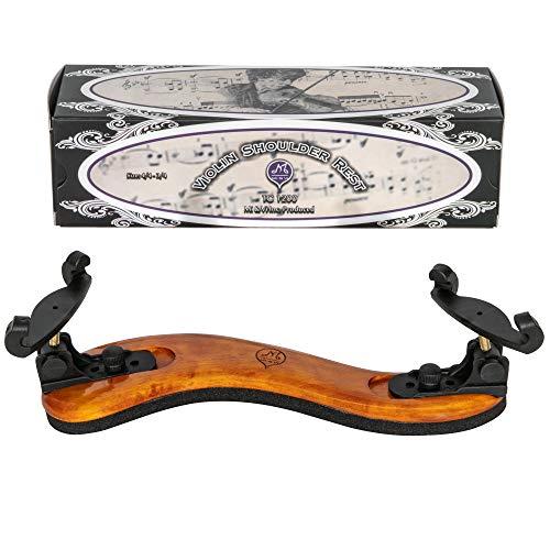 MI&VI Violin Shoulder Rest - Real Maple Wood, Round, Collapsible, Adjustable, Excellent Support Grip (Violin 4/4-3/4& Viola 14'-13')