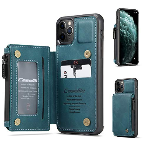 iPhone 11 Pro Max Wallet Case with Card Holder, Zttopo Premium Leather Zipper Card Slots Case Wallet with [RFID Blocking], Durable Shockproof Cover Money Pocket for iPhone 11 pro max 6.5 Inch (Blue)