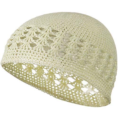 Knit Kufi Hat - Koopy Cap - Crochet Beanie (Cream, One Size