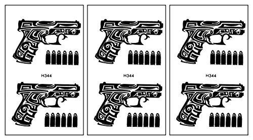 PARITA Small Tattoos Guns Cartoon Temporary Tattoos Waterproof DIY Body Art Tattoo Sticker Removable Fashion Fantasy Fun Party (Pack 3 PCS.) (12)