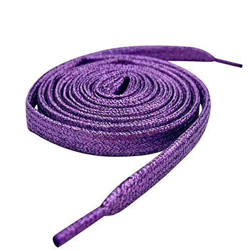 Farbige Metallic-Schnürsenkel, mit Glitzer, flach, 12mm breit x 80cm, 120cm lang, für Kinder- und Damen-Sportschuhe, Tanzschuhe und Schlittschuhe violett Violett glitzernd