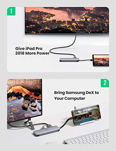 UGREEN USB-C Hub HDMI mit Faltbarem Kabel USB-C Adapter ausgerüstet mit 4K HDMI, Kartenleser, Power Delivery, USB Port kompatibel mit MacBook Pro, MacBook Air, Surface Go, iPad Pro usw.